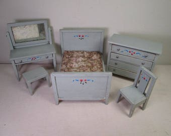 "Dollhouse ""FVC"" Bedroom Furniture - Bed Vanity Bench Dresser and Chair - Larger 1 1/4"" Scale"