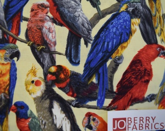 Parrots from the Living Wonders Collection by Fabri-Quilt,  Quilt or Craft Fabric, Fabric by the Yard.