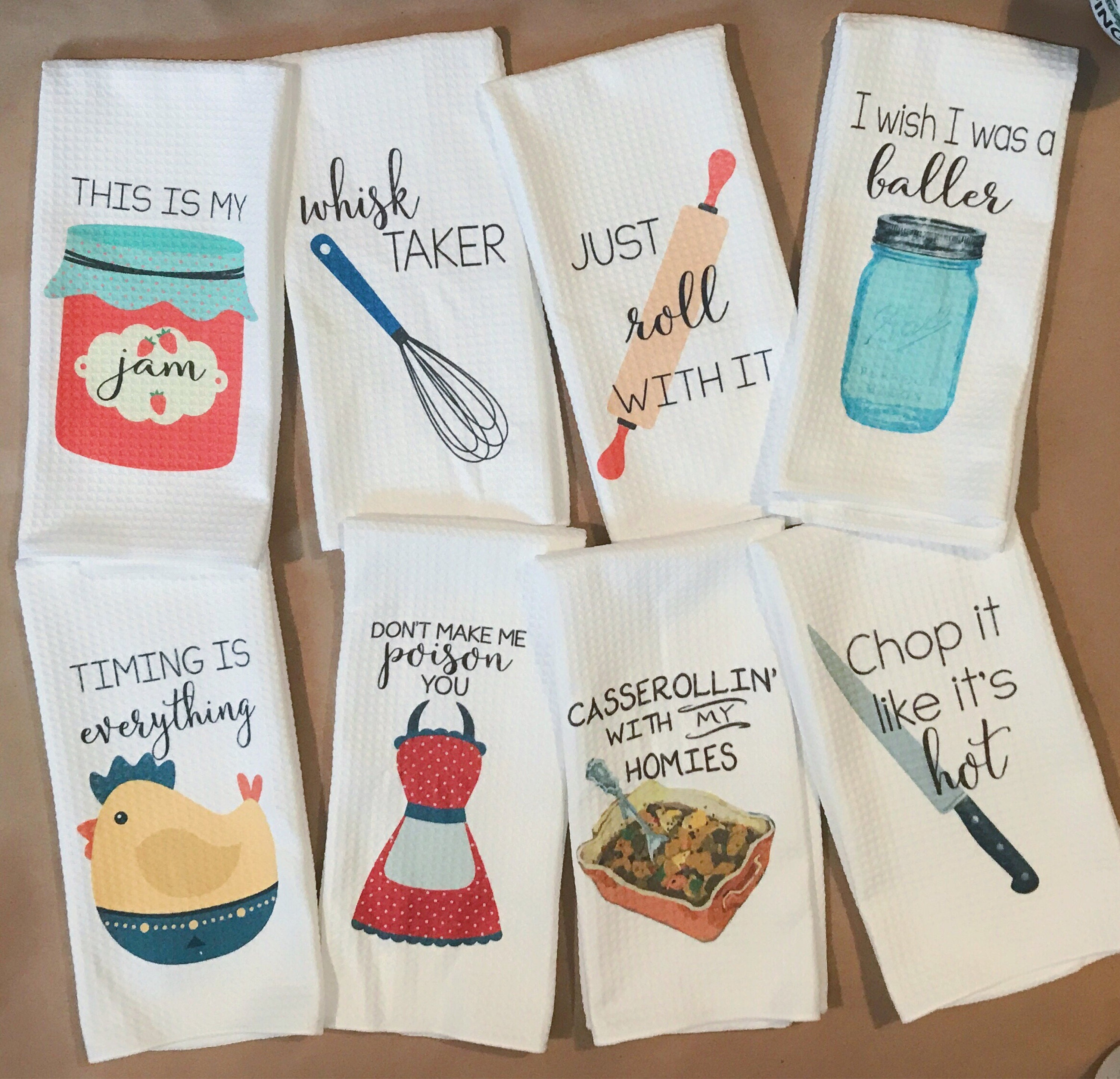 Say It Creative Personalized Shop: Funny Dish Towels Foodie Gift Unique Kitchen Towels Gift