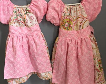 Tea Party Apron Twirl Dress--Sizes 0-3 Months to 12 years---Made to Order
