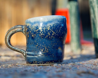 Espresso Cup - Small Handmade Porcelain Ceramic Cup with Handle - Blue White Earthy Spotty Multi-Colored Sassy Coffee Mug - 8oz