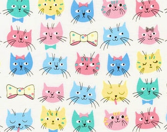 Fabric - Robert Kaufman - Whiskers and tails pastel cat face cotton print - woven cotton