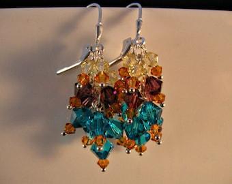 Crystal Cluster Earrings, cluster earrings, crystal earrings, silver earrings, swarovski crystal earrings, drop earrings, dangle earrings