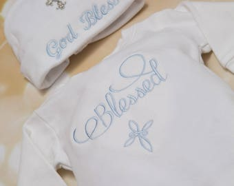 Christening Infant Baby Boy Layette White Cotton Baby Boy Romper Set with Embroidery Cross design