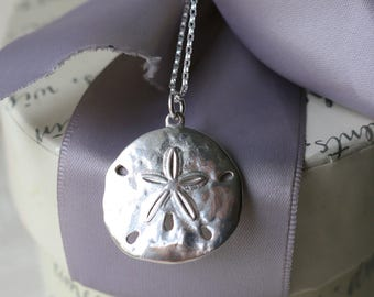 Sand Dollar Necklace Sterling Silver with 18 inch Sterling chain