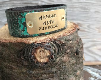 Stamped Leather Cuff-Word Cuff-Wander with Purpose