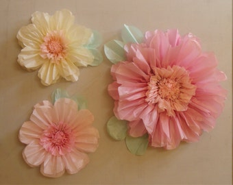 NEW! Set of 3 Giant Paper Flowers (Mid Pink)- Perfect Decorations for Wedding,Birthday Party&Baby Shower