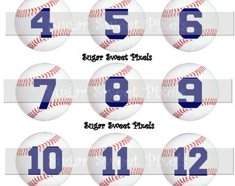 INSTANT DOWNLOAD Baseball  Navy Blue  Numbers 1 inch circle digital bottlecap Images