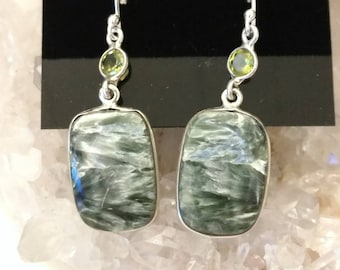 Seraphinite  and Peridot Charm Dangle Earrings