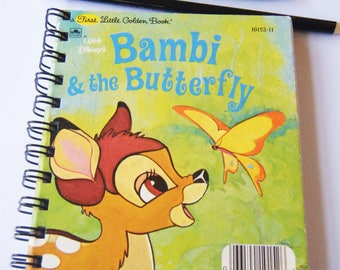 Diary/Journal/Notebook - Bambi and the Butterfly  recycled Little Golden Book
