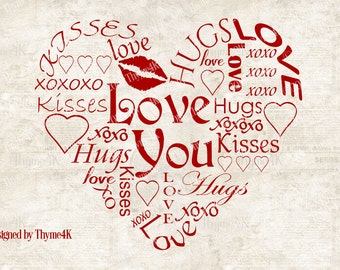 "SVG Digital Design ""Love You"" Heart -Includes svg, dxf, eps, png and jpeg formats."
