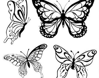 Beautiful Butterflies Clear Rubber Stamp Set w/ butterfly, insect, bug, moth, silicone