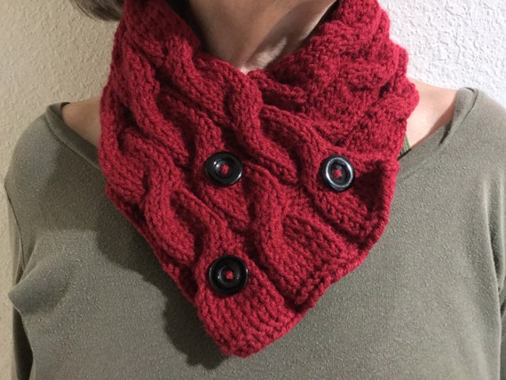 Tri Cable Cowl pattern buttoned cowl knitting pattern neck