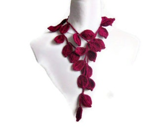Crochet lariat,  scarf,  Infinity scarf,  with Leaves in Burgundy, Necklace,  Feminine, Trendy, Spring, Summer, Harvest,
