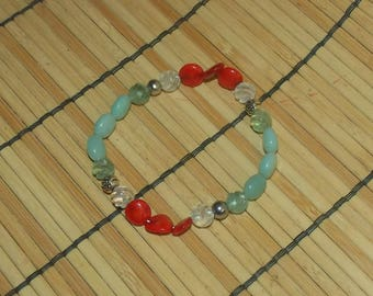 """7 1/2"""" Fluorite, Hematite, Red Coral and Amazonite Nugget Bracelet FREE SHIPPING!"""