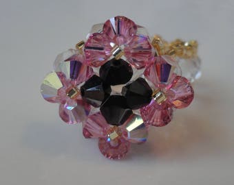 Pink and black diamond Swarovski Crystal beaded ring