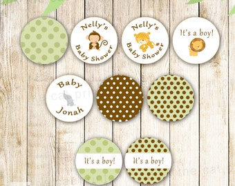 Jungle Candy Labels - 0.75 inch Mini Sticker Baby Boy Shower, Birthday Party Favors, Printable Personalized