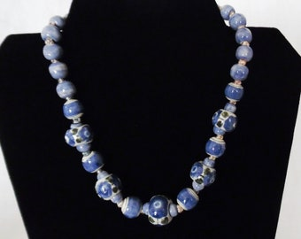 Hand Painted Blue Bead Necklace