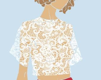 Fashion Illustration - Leila Lace (White)