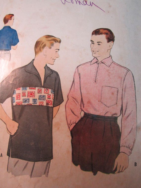 Men's Vintage Reproduction Sewing Patterns  1950s Mens Sport Shirt Pattern -44 $12.00 AT vintagedancer.com