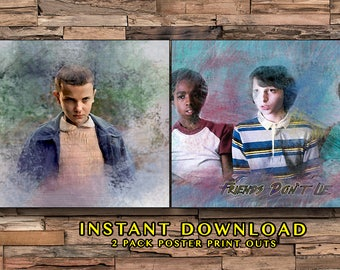 Stranger Things Season 1 Instant Download, Friends Dont Lie, Watercolor Prints, Upside Down, Friends Gifts, Quick Gifts, Mike & Eleven