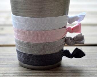Hair Ties, Elastic Hair Tie Set,  White, light pink, Black Gray and dark Gray Ties Set of 4 Elastic Hair Ties