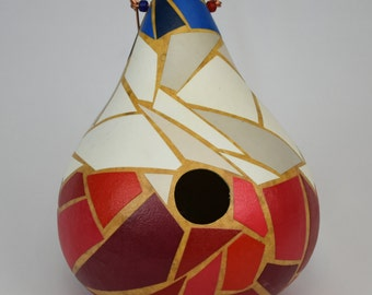 Birdhouse gourd, mosaic crafted bird house gourd July 4th Red, White and Blue Patriotic