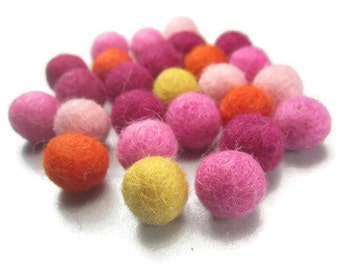 26 Tiny Felt Wool Balls 1cm 10mm 3/8 Inch Hand Felted Pink Orange Mix