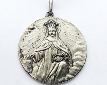 Large Vintage Miraculous Medal Antique French Holy Medal Catholic Pendant Mother Mary Virgin Mary