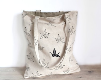 Tote bag printed origami birds