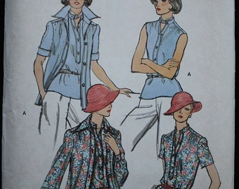 Vogue 9042 1970s 70s Librarian Secretary Blouse  Vintage Sewing Pattern Size 12 Bust 34