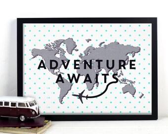 World Map Poster, Adventure Awaits, Polka Dot, Mint, Scandinavian, Minimal, Nursery Print, Map of World, Nursery Decor, Wanderlust, Map Art