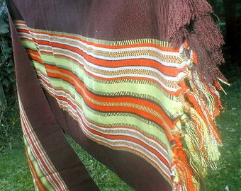 Hand Woven Shawl  -  Vintage Guatemala Made -Chocolate In Autumn Stripes