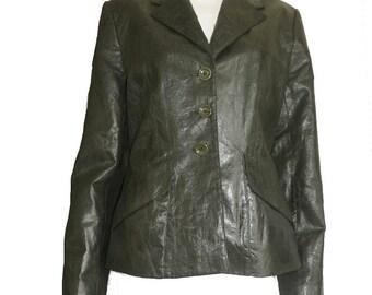 Jacket Linen Cotton Blend Karen Millen England Blazer Sz 12 LS Jacket Muted grass green