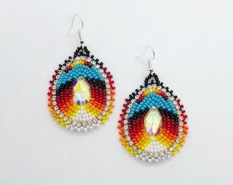 Native American Beaded Earrings - Handmade - Buckskin Backing - Powwow Earrings - Powwow Bling - Rhinestone Edging