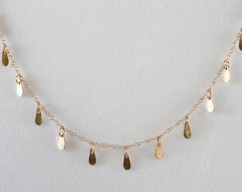 Solid Gold Necklace with Forty Tiny Tear Drop Discs - Solid Gold, 14K Gold, 10K Gold, Yellow Gold, Rose Gold, Customizable