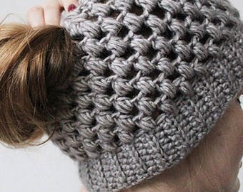 Puff Stitch Messy Bun Beanie.
