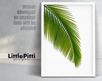 Leaf decor, Anniversary gift, green home decor, leaf print, living room decor, tropical decor, instant download, green leaf, leaf wall art