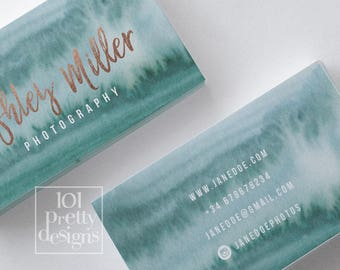Watercolor business card design rose gold printable business card design gold and green business card rose gold foil makeup artist emerald