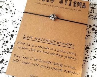 Flower bracelet, Mental health awareness, strength bracelet, depression gift, mental health support, positivity gift, stocking filler,