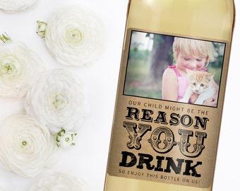 Teacher Appreciation Gift - Teacher Gift - Day Care Label - Custom Wine Label - Photo Wine Label
