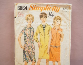 Simplicity 6864 retro vintage 1960's Mary Quant style zip-up dress Sewing Pattern Size 14 Bust 34 inches