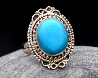 Turquoise Ring Silver 925 Blue Stunning Silver Ring Handmade