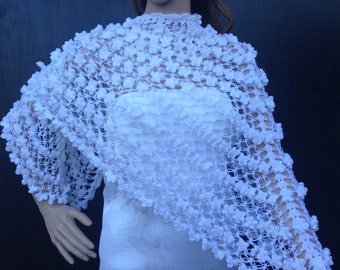 Unique Stile,Wedding Shrug,Bridal Bolero,Crochet,Shawl,Wedding Cape,Winter Wedding Cover Ups,Shawl,Fall Wedding Shawl,White shawl,Hand made.