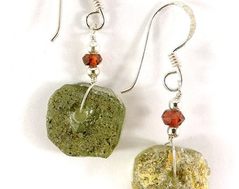 Ancient Roman Glass Earrings Beads Green Afghanistan 113272