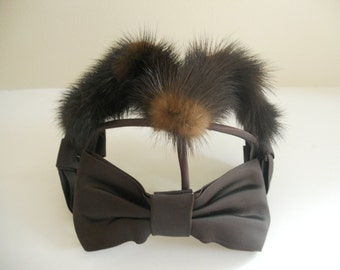 Chocolate Brown Fur and Bow Fascinator