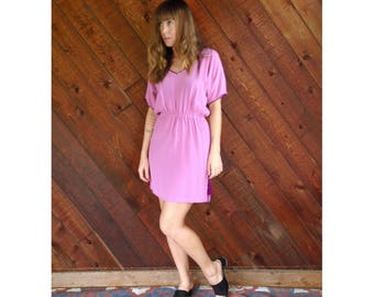 Pink Silk Vintage 70s 80s Designer Cocktail Dress MEDIUM