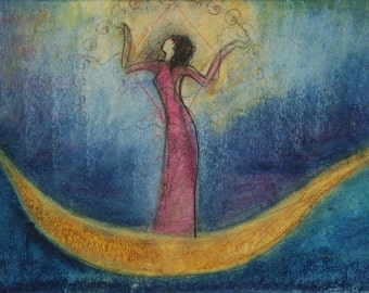 Small Print Goddess Art - Inanna & Her Boat of Heaven