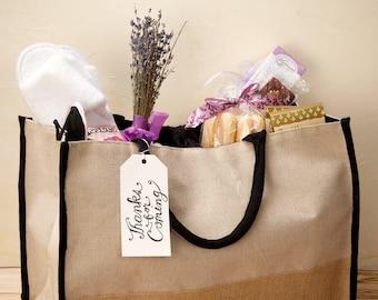 Natural Black Jute/Cotton Tote Bag, Burlap Tote, Jute Tote, Reusable Bag, Bag, Tote, Jute, Burlap, Hamper Beach Bag, Beach Bag, Eco Friendly