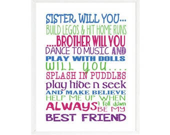 Brother Sister Art Print, Sibling Decor, Play Room Art, Sister Will You, Brother Will You, Colorful Art, Word Art, Brother And Sister